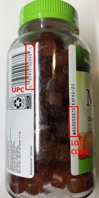 How to identify affected product UPC and Lot Code for vitafusion MultiVites and L'il Critters Gummy Vites (CNW Group/Health Canada)
