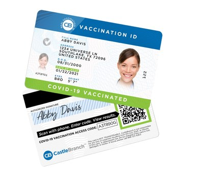 Real Vaccination ID cards are embedded with industry-leading forgery-prevention technology to combat counterfeiting and help people prove their COVID-19 vaccination status. (PRNewsfoto/CastleBranch)