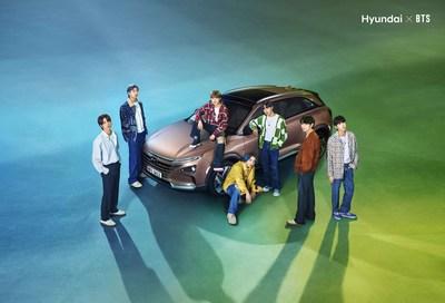 Hyundai Motor's hydrogen fuel cell SUV, NEXO with BTS, (from left) Jin, RM, Jimin, Jung Kook, j-hope, V, SUGA
