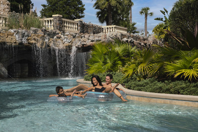 """Float your cares away on the resort's heated lazy river, complete with waterfalls and a bubbling """"rapids"""" section."""