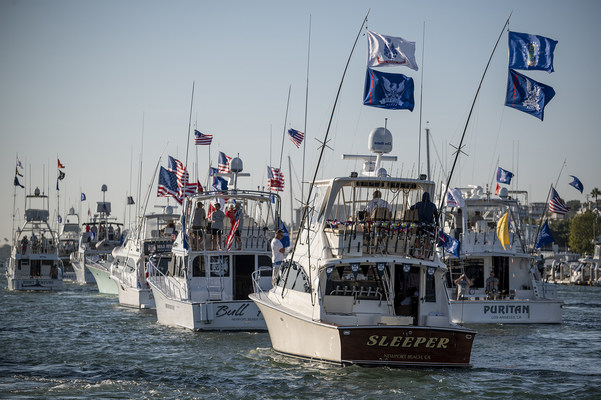 The WHOW 2021 Sportfishing Tournament featured 40 of the west coast's finest sportfishing yachts, all of whom donated their boats, captains, crews, fuel, tackle and food, representing an in-kind donation of more than $800,000. (Shown here: Tournament participants loop through Newport Harbor as part of the event's second annual Boat Parade).